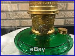 Aladdin Lamps Genie III Hunter Green Brass Model 23 Kerosene With Chimney