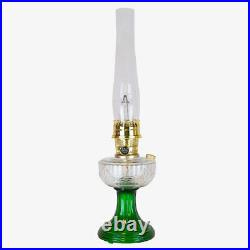 Aladdin Lamps Kerosene Brass Clear Over Emerald Lincoln Drape Lamp #100039615