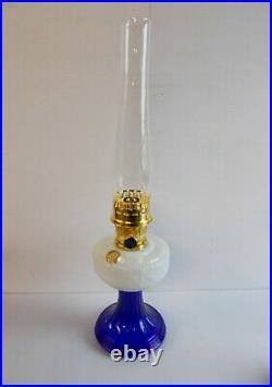 Aladdin Lamps Kerosene Brass Opal Over Cobalt Lincoln Drape Table Lamp