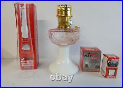 Aladdin Lamps Kerosene Brass Pink/Opal Lincoln Drape Table Lamp
