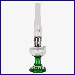 Aladdin Lamps Kerosene Nickel Clear Over Emerald Lincoln Drape Lamp #100039614