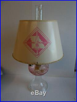 Aladdin Lamps Short Lincoln Drape 1994 Knights Gathering Pink/Clear Parchment