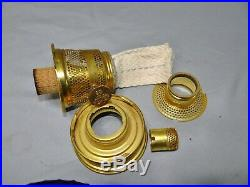 Aladdin Lincoln Drape Cobalt Blue Glass Kerosene Oil Shelf Bracket Lamp Font
