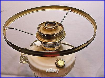 Aladdin Lincoln Drape Cream Glass Tall Kerosene Lamp w Shade & Ring, Electrified