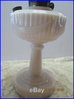 Aladdin Lincoln Drape Oil Kero Lamp Pink Alacite Matching Pink Shade (19th)