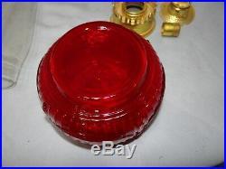Aladdin Lincoln Drape Ruby Red Glass Kerosene Oil Shelf Bracket Lamp Font