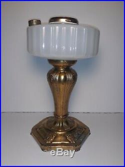 Aladdin Majestic Lamp White Moonstone 1935-1935 Original Base Plating withBurner