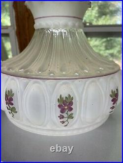 Aladdin Mantle Lamp Company Glass Kerosene 10 Shade Hand Painted Amethyst