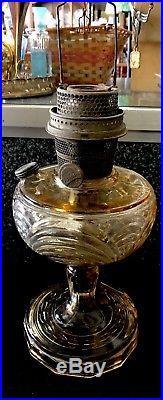 Aladdin Mantle Lamp Company, Nu-Type Model B vintage Oil Lamp caramel glass
