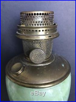 Aladdin Mantle Oil Kero Model 1243 Venetian Art Craft Green STRAW Vase Lamp