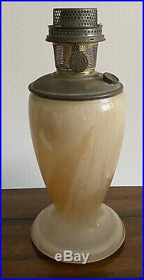 Aladdin Mantle Oil Kerosene 10.25 Tan STRAW Glass Vase Lamp Model 12