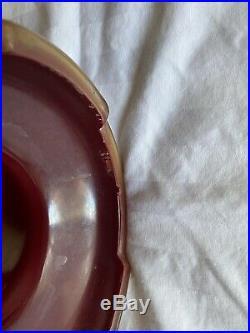 Aladdin Mantle Oil Kerosene 12 Bengal Red Iridescent Glass Vase Lamp Model 12