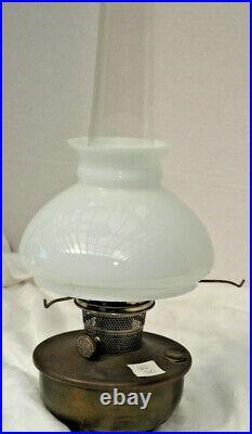 Aladdin Metal B-400 brass Caboose font lamp #B Burner Lox-on chimney good shade