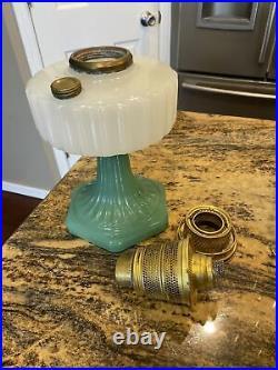 Aladdin Mod. B-125 Corithian White Font Over Green Foot Moonstone Kerosene Lamp