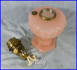 Aladdin Model 112 Cathedral Pastel Rose Moonstone Lamp with Brass Type B Burner