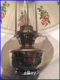 Aladdin Model 12 4 Post Hanging Lamp With#620 F Shade/Cracked+Chimney Nickel Font