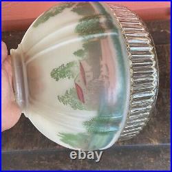 Aladdin Model 12 616S Grist Mill Oil Kerosene Painted Glass Hanging Lamp Shade