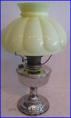 Aladdin Model 12 Nickle Oil Lamp with Yellow Shade Top with Wick Kerosene NO RESERVE
