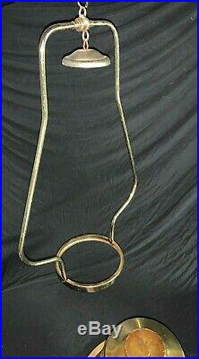 Aladdin Model 23 Brass Hanging Parlor Lamp, Slant Shade, 1969-73