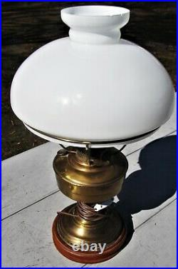 Aladdin Model # 6 Brass Oil Lamp Electrified Table Lamp with White Shade