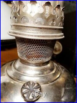 Aladdin Model 6 Kerosene Oil Hanging Lamp Glass Shade Nickel Font Chimney Burner