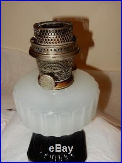 Aladdin Model B-124 White Black Corinthian Kerosene Oil Lamp