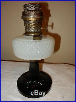 Aladdin Model B-90 White Black Quilt Kerosene Oil Lamp