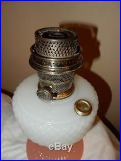 Aladdin Model B-91 White & Rose Moonstone Quilt Kerosene Oil Lamp