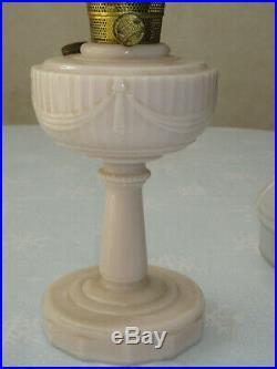 Aladdin Model B Tall Lincoln Drape Kerosene Table Lamp Alacide Milk Glass