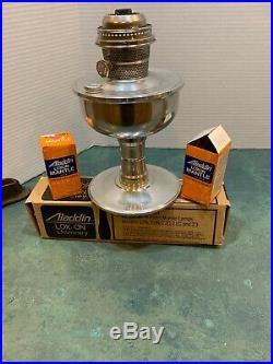 Aladdin Model C Pedestal Aluminum Lamp New Chimney 2 Mantles Good Wick 22