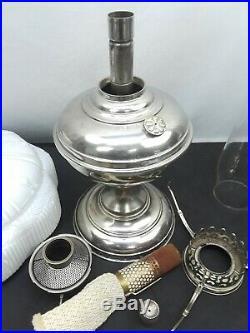 Aladdin Model No. 5 Nickel Oil Kerosine Lamp 501 White Cased Glass Shade