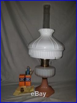 Aladdin Moonstone Corinthian Model 126-B Kerosene Lamp Opal & Rose Orig. Shade