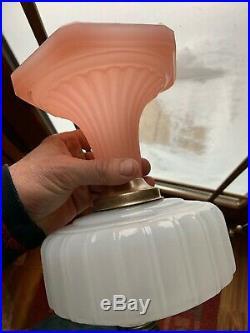 Aladdin Moonstone Corinthian Model B Kerosene Oil Lamp Base Pink And White a028
