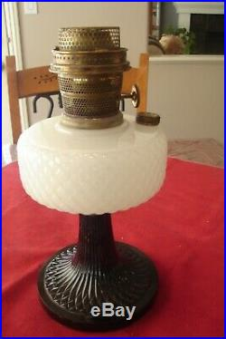 Aladdin Moonstone Quilt Lamp, B-90, 1937 Black Foot, White Font FREE SHIPPING