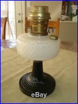 Aladdin Moonstone Quilt Lamp, B-90, circa 1937 Black Foot, White Font