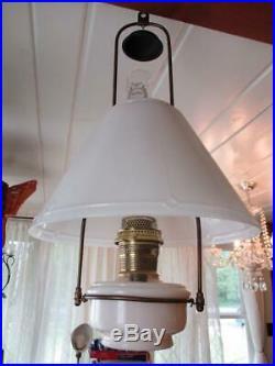 Aladdin Moonstone With Davis-Lynch Glass Shade 24 Hanging Kerosene Oil Lamp