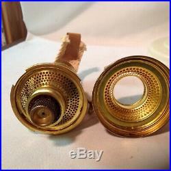 Aladdin NOS tall Alacite Lincoln drape kerosene oil lamp, brass model B burner