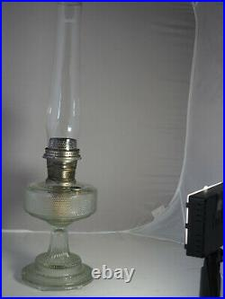 Aladdin Oil Lamp 1933 Hobnail Colonial 104 clear crystal Model B Burner chimney
