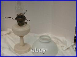 Aladdin Oil Lamp 1940 Alacite glass Tall Lincln drape B Burner shade Au chimney