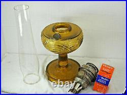 Aladdin Oil Lamp 1940 Amber Crystal plain stem Washington Drape Model B-55