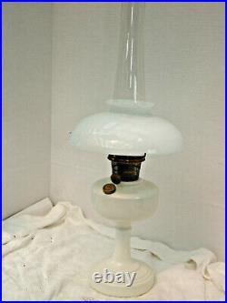 Aladdin Oil Lamp 1948 white glass Simplicity B Burner lox-on chimney white shade