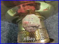 Aladdin Oil Lamp #23 Lox-on Brass Vintage Kerosene Light Mantle Table