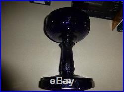 Aladdin Oil Lamp Cobalt Blue Crystal Art Glass Draped Bowl Twelve-sided foot