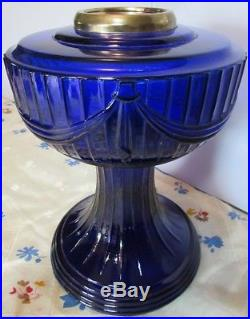 Aladdin Oil Lamp Cobalt Blue Lincoln Drape with Shade Burner 23