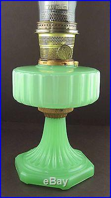Aladdin Oil Lamp Corinthian 1935-36 Model B-111 Apple Green Rose Gold Connector