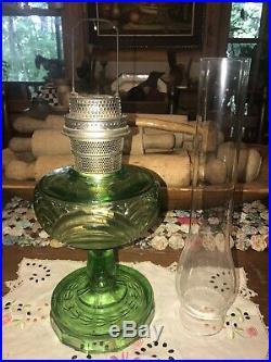 Aladdin Oil Lamp Model B Washington Drape Green Glass Globe Filigree Stem 1940s
