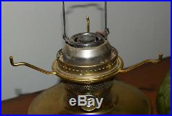 Aladdin Oil Lamp Model C Brass with Green Glass Shade