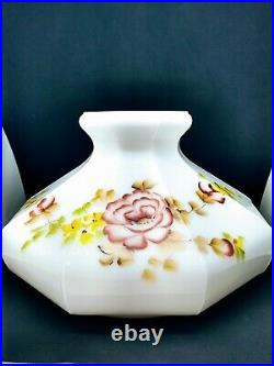 Aladdin Oil Lamp Shade Hand Painted Flowers Coleman 10 fitter