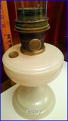 Aladdin Oil Lamp Vintage 1940's White Glass Simplicity B Burner with Chimney Rare