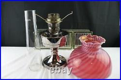 Aladdin Oil Lantern/Lamp # 23 Nickel/Chrome Finish Cranberry Opalescent Swirl St
